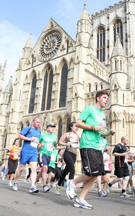 10k runners pass York Minster which will now also be on the route of the new marathon
