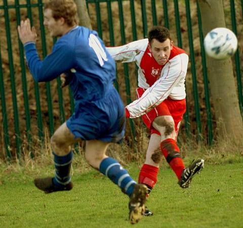 Copmanthorpe's Danny Leach, right, among the scorers for Copmanthorpe in their 3-1 reserve 'A' victory over York RI in the York Minster Engineering Football League