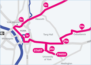 Yorkshire Marathon route map