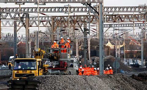 Picture from 2008 of  engineering work on the West Coast Main line at Rugby
