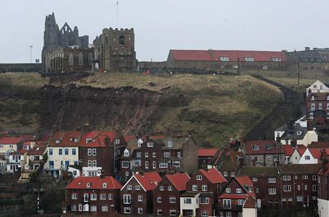 A view of St Mary's in Whitby, where landslips have dislodged banks of earth containing human remains from graves