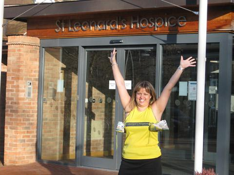 Emma Johnson, of St Leonard's Hospice, who is urging marathon  runners to raise money for the hospice