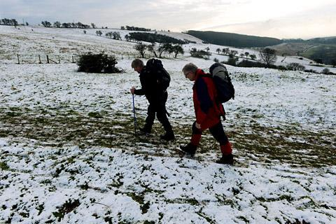 Snow on the high ground of the Yorkshire Wolds at Millington Pastures, near Pocklington, gives walkers a taste of the winter weather and snow that is foreca
