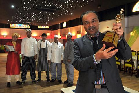 The winner of the BCA Caterer Of The Year award for Yorkshire, Mohammed Khalique Zaman, with his staff at Jaipur Spice restaurant in Haxby Road, York
