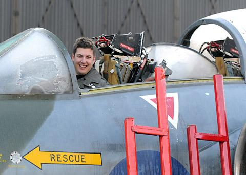 Ollie Suckling in the cockpit of the Buccaneer