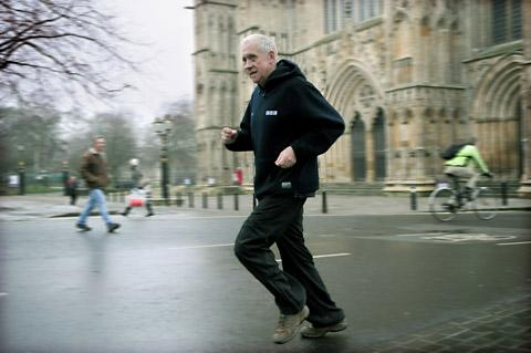 NORTH STAR: BBC Look North presenter Harry Gration runs past York Minster, in training for the Yorkshire Marathon