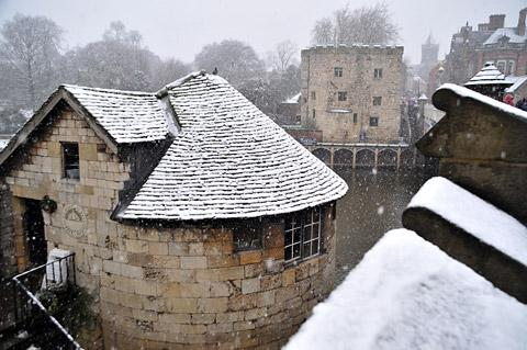 The snow adds a new dimension to some of York's ancient buildings