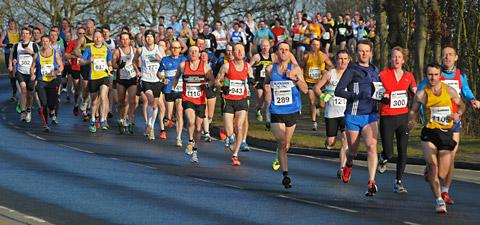 The Brass Monkey half marathon attracts great effort as shown in this action shot from last year