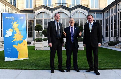 In the presence of Sir Peter Ricketts (British Ambassador to France) are Gary Verity (Chief Executive of Welcome to Yorkshire) and Christian Prudhomme (Director of the Tour de France).