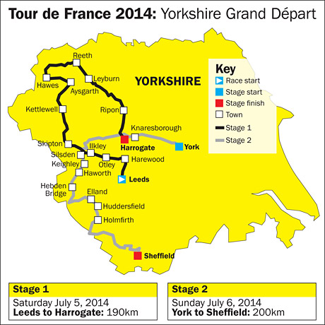 Tour de France route map
