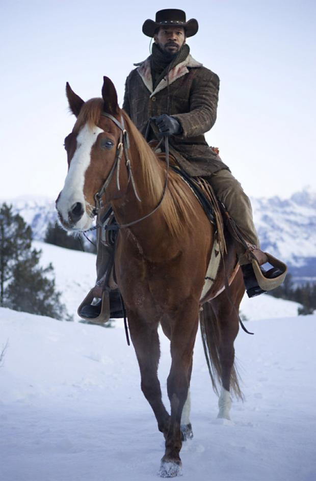 Jamie Foxx rides his own horse, Cheetah, in Django Unchained