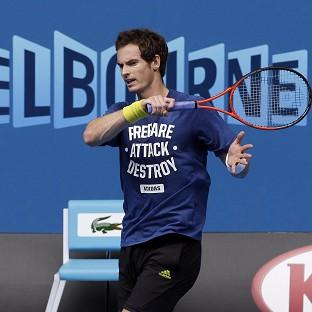 Andy Murray, pictured, was on the court practising before his meeting with Jeremy Chardy (AP)
