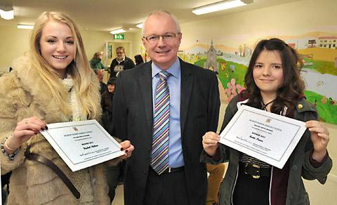 The chairman of Bishopthorpe Parish Council, Stewart Harrison, with Youth Award winners Rachel Skelton, left, and Katie Paver