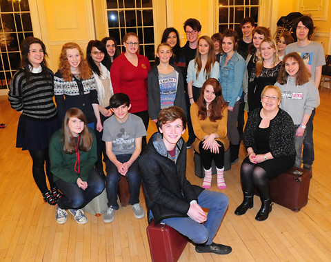 Joseph Hayes with Theatre Royal Youth Theatre and Riding Lights  members and Coun Sonja Crisp at the De Grey Rooms, in York