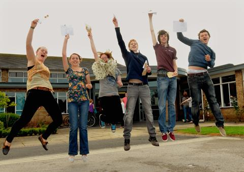 Fulford School students  celebrate their  A level results .