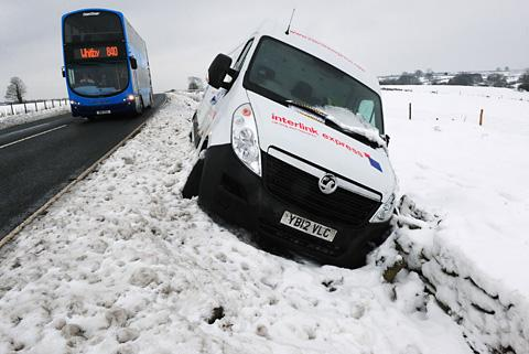 A delivery van is left in the snow after coming off the Pickering to Whitby road