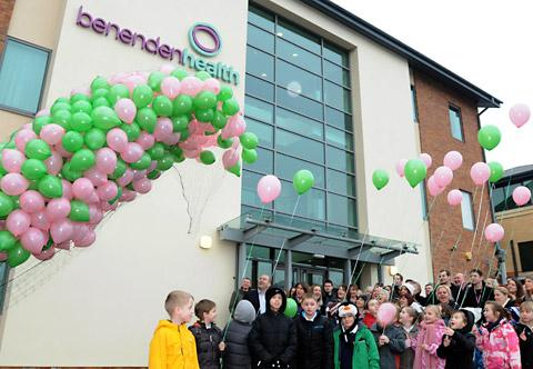 Pupils from Poppleton Road Primary School at the balloon launch at Benenden Health, in Holgate, York