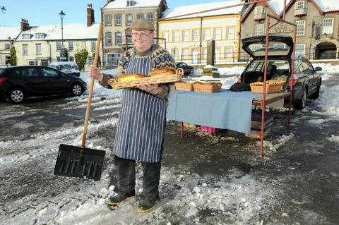 Baker Pete Ellison, who was the only trader to set up his stall at Malton market