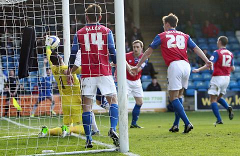 The goal from a corner at Gillingham
