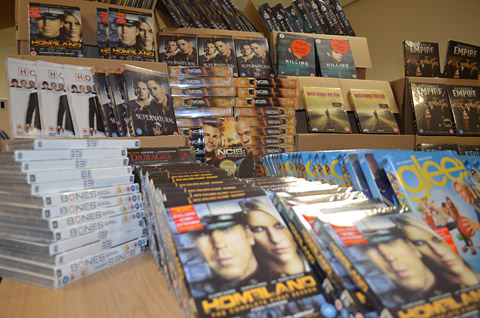 Just some of the suspected counterfeit DVDs seized by police            following a raid on  a house in North Yorkshire