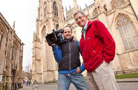 Simon Calder and cameraman Douglas Bolton take a break from filming the Visit York video