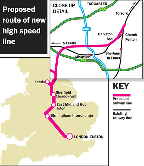 York Press: High-speed HS2 rail map