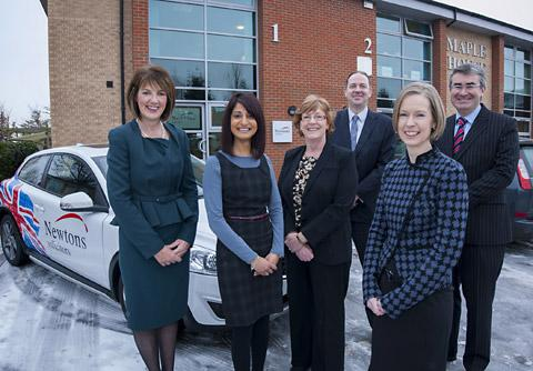 Newtons Solicitors' new office: director Sarah Newton; property solicitor Shamim Hussain; residential property team leader Heather Johnson; director & head of the York office John Paice; property solicitor Sally Robinson and managing director Chris Newt