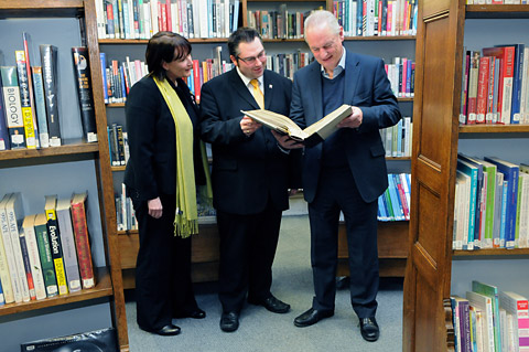 Minister for the Cabinet Office, Francis Maude, right, with York's head of library services, Fiona Williams and City of York Council leader James Alexander, at York Explore Library Learning Centre
