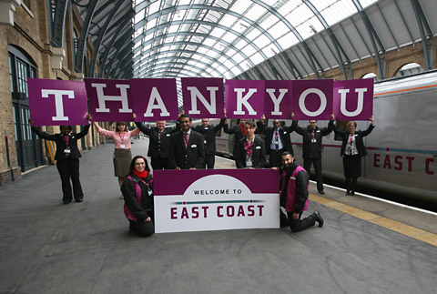 East Coast staff spell out their message to passengers at Kings Cross station