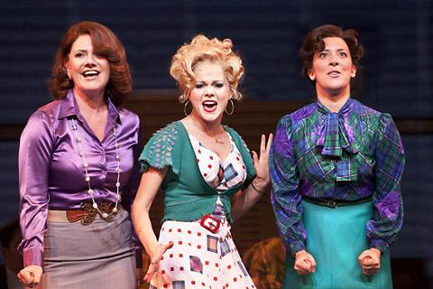 From left, Jackie Clune as Violet Newstead, Amy Lennox as Doralee Rhodes and Natalie Casey as Judy Bernly in 9 To 5: The Musical, which was beset by technical problems on its first night in York