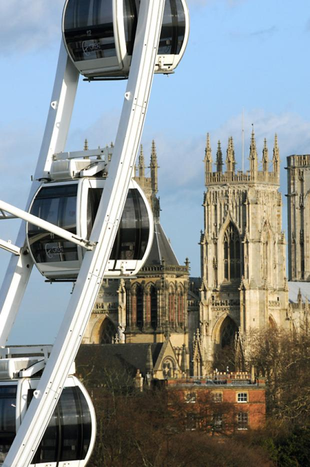 The wheel offers a different view of York Minster for passengers in the wheel's pods