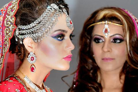 Models Jazmine Darson, left, and Anila Baig at the first Asian Wedding Fair at the Royal York Hotel