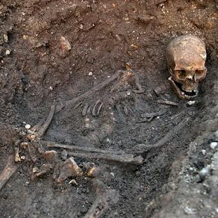 The skeleton of Richard III, who was killed in battle, which was found under Grey Friars car park in Leicester