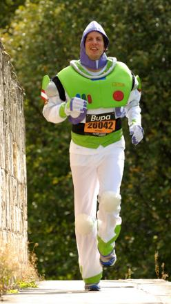 Mike Brigham dressed as Buzz Lightyear from Toy Story when training for the Great North Run in 2009