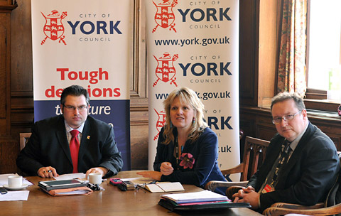 City of York Council leader James Alexander, left, chairs a budget meeting with the council's chief executive, Kirsten England, and Ian Floyd, the council's director of customer and business support