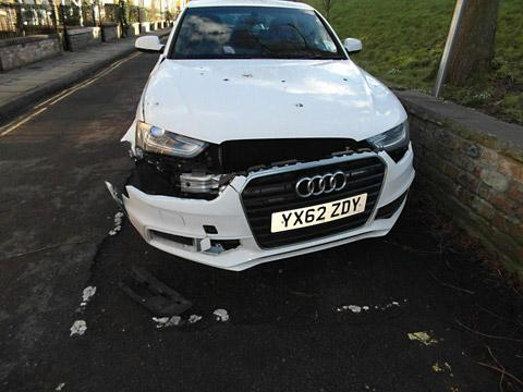 Allan Whalley  loan car badly  damaged in a hit-and-run collision near his home in Dewsbury Terrace,