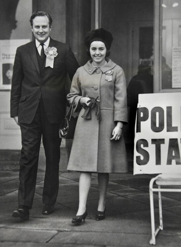 York Press: Charles Longbottom, York's then Conservative candidate leaves the City Art Gallery polling station with his wife after they had cast their votes in the 1964 elections.