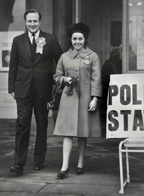 Charles Longbottom, York's then Conservative candidate leaves the City Art Gallery polling station with his wife after they had cast their votes in the 1964 elections.