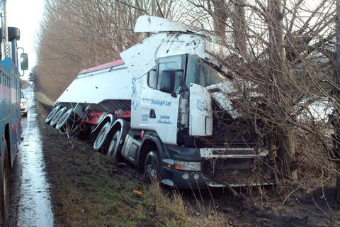 Diversions in place after lorry crashes into ditch