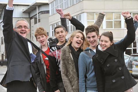 Celebrating their letter from schools minister David Laws are, from left, Huntington School head teacher John Tomsett, and pupils Jamie Thompson, Daniel Sewell, Hope Price, Jack Owen and Emily Roberts