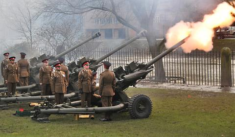 The 21-gun salute held in Museum Gardens, York, to mark the 61st anniversary of the Queen's accession to the throne