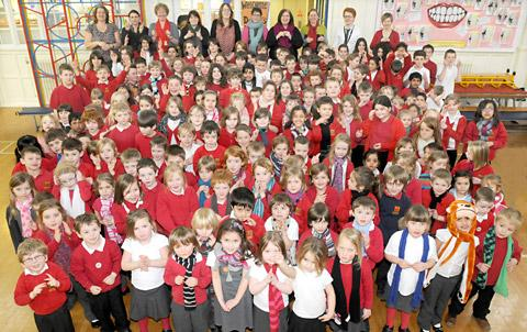 Pupils and teachers who took part in the Sign2Sing world record attempt at Fishergate School in York