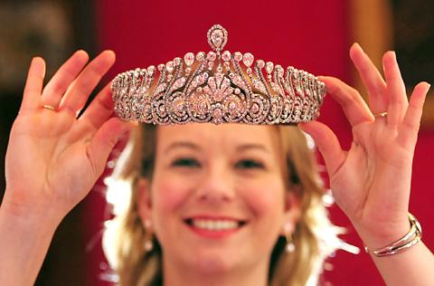 Hannah Phillip, director of Fairfax House, with a 19th century tiara