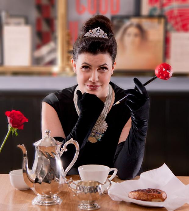 Kirstie Allsopp transforms into Audrey Hepburn's character Holly Golightly from the film Breakfast At Tiffany's to launch Menu Relief