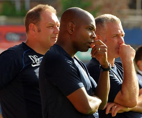 York City's  management trio of, far right,  manager Gary Mills, centre, coach Des Lyttle, and, near right, assistant  manager  Darron Gee