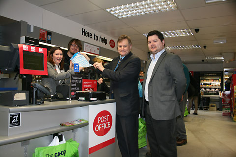 York Central MP Hugh Bayley and Coun Neil Barnes meet staff at the Co-Operative Food store in Tang Hall Lane, which now offers Post Office services