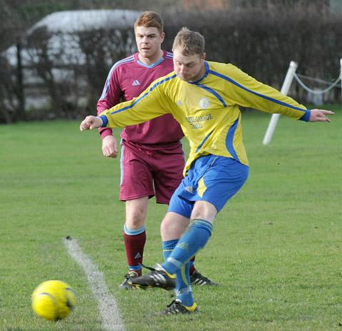 Huntington Rovers  marksman Lee Bunce who was on target in the  quarter-final win over Hemingbrough