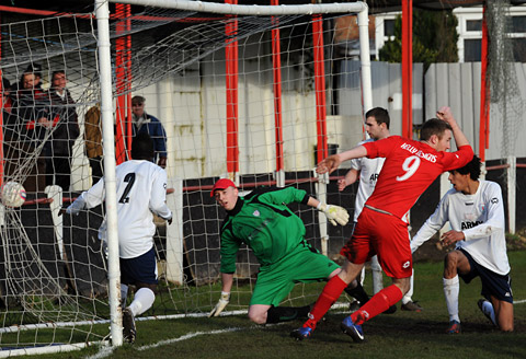 New striker Danny Gray grabs one of Selby Town's four goals in their win over Yorkshire Amateur