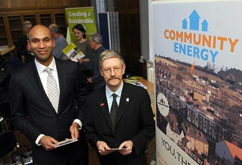 Hugh Goulbourne, left, of Community Energy Direct, with Coun Dave Merrett during the launch of the energy price scheme