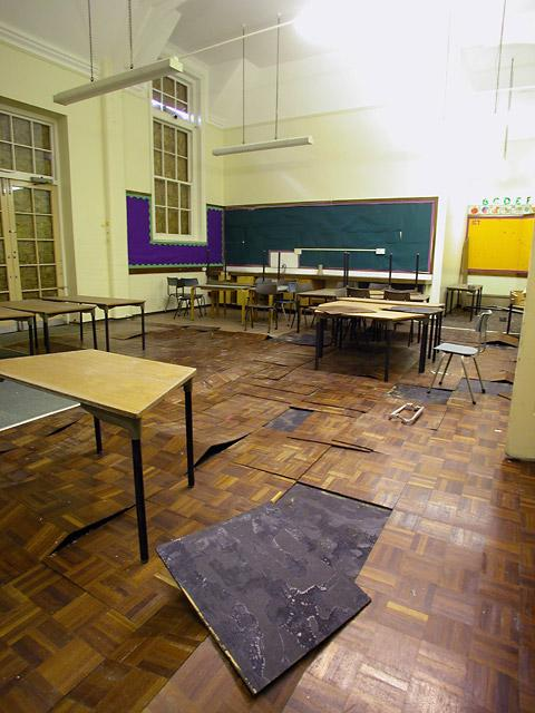 A derelict classroom at Shipton Street School which has been left empty for more than a decade